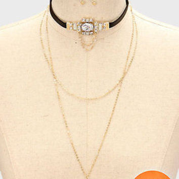 2 piece gold clear layered choker collar crystal drop Y necklace earrings boho