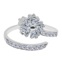 Sterling Silver Rhodium Plated Flower CZ By Pass Style Adjustable Toe Ring