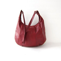 Vintage 70s cranberry red leather purse. Leather shoulder bag. Hobo Boho Hippie.