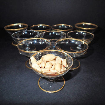 Vintage Nut Cup or Mint cup stemware, set of 10, 2 optical glass, Wedding party reception. Wedding Shower