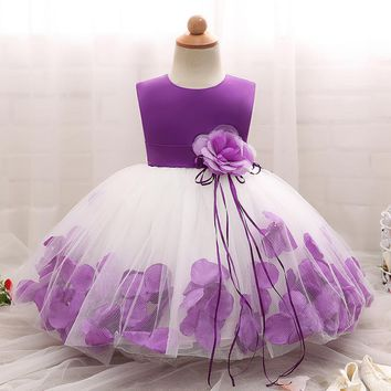 Baby Dresses Girls Sleeveless Wedding Party Infant Baby Petal Dresses for Toddler Girl Birthday Baptism Clothes Baby Dress