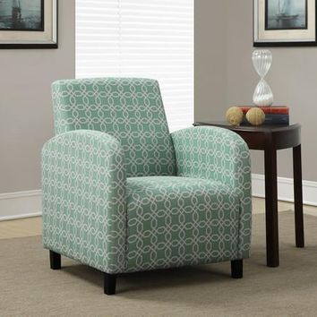 """I 8043 Faded Green """" Angled Kaleidoscope """" Fabric Accent Chair"""
