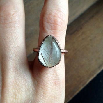 Rutilated Quartz Teardrop Ring - Statement Ring - Unique Ring - Raw Stone Ring - Copper Ring - SIZE 7.5