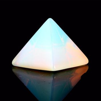 Natural Stone Carved Opalite Opal Pyramid Symbol Rose