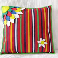 "Flower Cushion Cover - Throw Pillow Cover - Decorative Pillow Case - Cushion Cover - Handmade Cushion - Colorful Pillow  ""O Olhar"""
