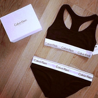 """Calvin Klein""Ms sports bra cotton Triangle suit non-trace bra Black"