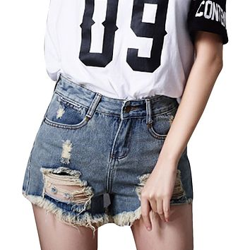 Retro Destroyed Jean Shorts