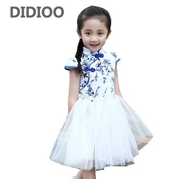 Children Tulle Dresses For Girls Chinese Style Floral Print Girls Dresses Summer Princess Party Dresses