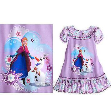 Licensed cool NEW Disney Store Frozen Girls Purple Anna Olaf Nightshirt Nightgown Night Gown