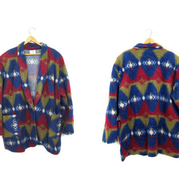 Southwestern Print Fleece Jacket Oversized Buttoned Blanket Coat Colorful Tribal Print Fleece Jacket Sweater Coat Womens 2XL XXL
