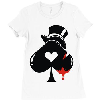 poker hat ace of spades Ladies Fitted T-Shirt
