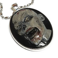 Walker Cameo Necklace, Walking Dead Cameo, Zombie Necklace, Realistically Painted Zombie Halloween Cameo