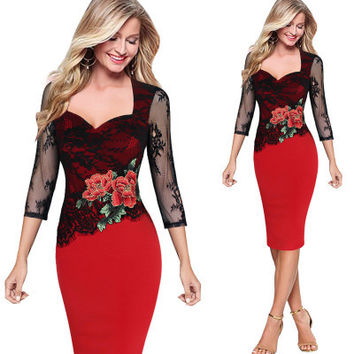 2017 Summer Dress Embroidered Floral See Through Lace Party Evening Bridemaid Mother of Bride Special Occasion Embroidery Dress
