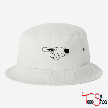 mickey stache bucket hat