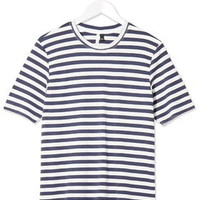 Striped Crew Neck Tee by Boutique - Blue