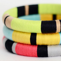 Colorblock Layered Bangles with Stripes Mix & Match Any 3 - Item 500