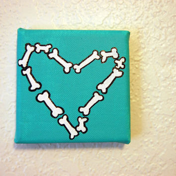 Teal Bone Heart Painting 4x4 canvas Acrylic