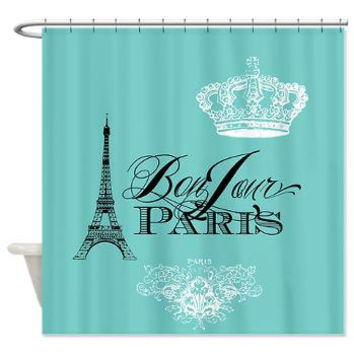 Paris France Teal Shower Curtain - Chic, french, crown, Eiffel Tower - home decor, bathroom