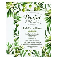 Elegant Olive Boho Garden Bridal Shower Invitation