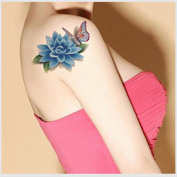 3D Flower & Butterfly Temporary Tattoo