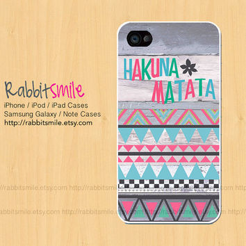 HAKUNA MATATA iPhone 4, 5 Case, Wood Pastel Aztec iPhone 5 case iPhone 4 Case, Tribal Geometric Pattern iPhone 4s Cover, Hard Plastic iphone