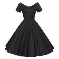 Woman Hepburn Style Dress 50s Solid Color Big Peplum    black   S