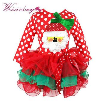 WEIXINBUY Girls Dresses Santa Claus Character Tulle Tutu Party Mesh Christmas Dress 1-6Y
