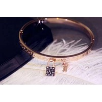 LV Louis Vuitton Stylish Women Chic Key Locks Stainless Steel Bracelet Accessories Jewelry Rose Golden