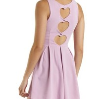 Heart Cut-Out Pleated Skater Dress by Charlotte Russe