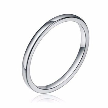 Three Keys Jewelry 2mm White Tungsten Wedding Ring for Women Classic Dome Wedding Band Engagement Ring