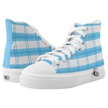 white square pattern with blue stripe High-Top sneakers