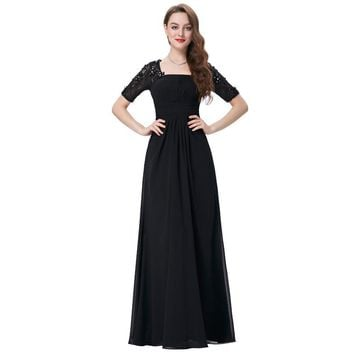 Mother of the Bride Dresses for Wedding Party Elegant Half Sleeve Black Long Evening Dress Bride Gowns