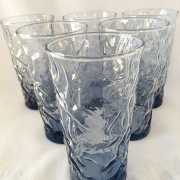 Anchor Hocking Lido Blue tumblers, Blue pebble glassware, set of six Lido glasses, Blue ripple glasses