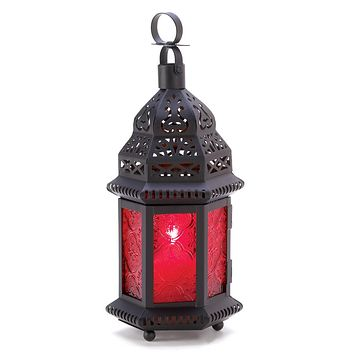 Iron And Red Glass Moroccan Candle Holder Lantern