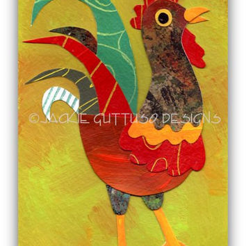 Rooster art, Original collage, Farm nursery art, Kitchen rooster art, Whimsical rooster, Chicken art, Rooster painting