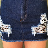 Spice Girl Skirt- Dark Denim
