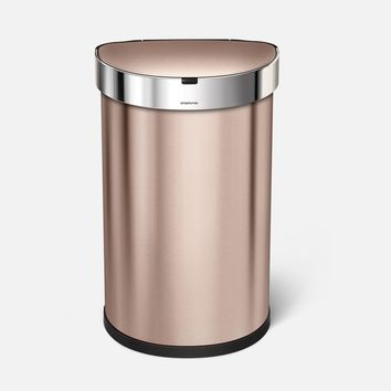 45 litre, semi-round sensor can with liner pocket, rose gold stainless steel