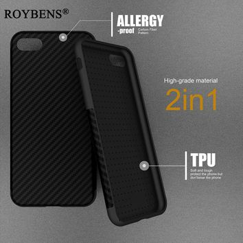iPh 7 Roybens New Environmental Fiber Case For iPhone 8 Soft Texture Fiber Carbon TPU Rubber Cover For iPhone 7 6 6S Plus X 10