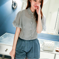 White Striped Batwing Sleeve Blouse