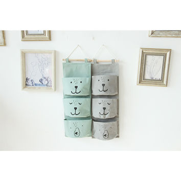 new Hanging Box Underwear Clothing Shoe Storage Wall Closet Organizer Closet Bag expression cartoon art receive canvas bag