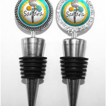 A227 - Personalized Teal, Gray and Yellow Flowrs Wine Stopper