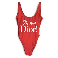 DIOR 2018 New Women's Sexy High Quality One Piece Swimwear Bikini F-ZDY-AK Red