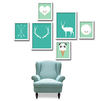 Green Nordic Geometry Letter Deer LOVE Quotes Art Print Poster Wall Picture Nursery Canvas Painting No Frame