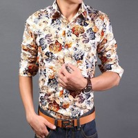 Fashion Floral Shirts Men Long Hawaiian Shirt Slim Fit 13M0039