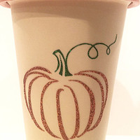 Glitter Coffee Tumbler - Pumpkin Glitter Coffee Mug - Pumpkin Spice Latte - Travel Coffee Mug - Pumpkin Spice Mug - Glitter Dipped