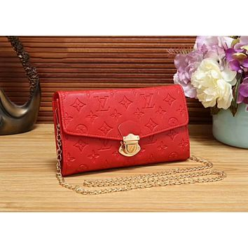 LV Trending Women Stylish Leather Metal Chain Buckle Shoulder Bag Crossbody Satchel Red LV Print I-WMXB-PFSH