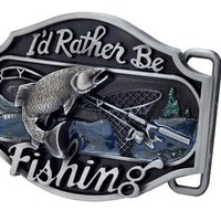 Buckle Rage Adult Unisex I'd Rather be Fishing Redneck Bass Sport Belt Buckle