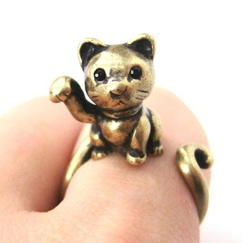 Fortune Kitty Cat Animal Wrap Around Ring in Brass - Sizes 4 to 9 Available