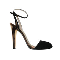 Gucci Suede and Gold Metallic Ankle Strap Sandel