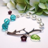 Antiqued Silver Branch Bracelet, White Pearl and Aqua Blue Crystal
